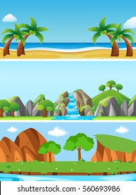 Three nature scenes with different landforms illustration