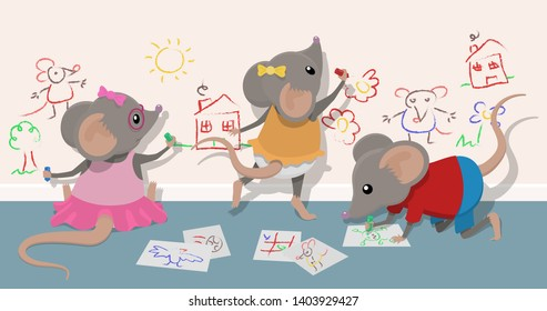 Three naughty juvenile mice cause mischief by drawing on the walls with pens and crayons.