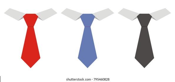 Three necktie, vector icon,