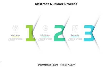 Three numbers or figures overlaid by paper white corners or arrows. Concept of 3 successive steps of business process. Minimal infographic design template. Modern vector illustration for progress bar.