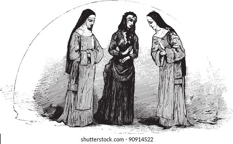"Three nuns - Vintage illustration from ""La petite soeur par Hector Malot"" 1882, France"