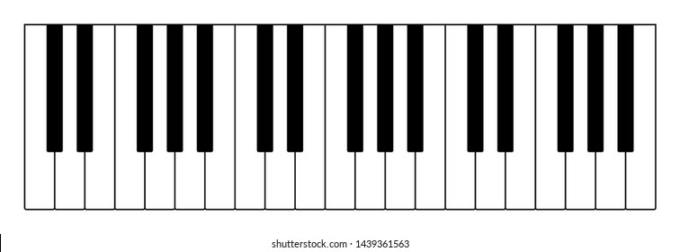 Three octaves on keyboard to play notes of Western musical scale. Twelve keys of an instrument are an interval of one octave, seven longer in white, five shorter in black color. Illustration. Vector.