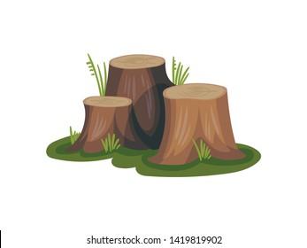 Three old stumps. Vector illustration on white background.