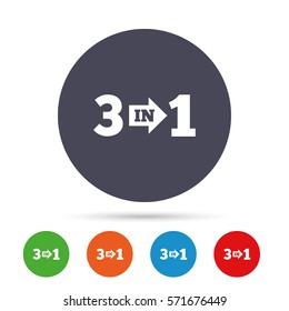 Three in one suite sign icon. 3 in 1 symbol with arrow. Round colourful buttons with flat icons. Vector