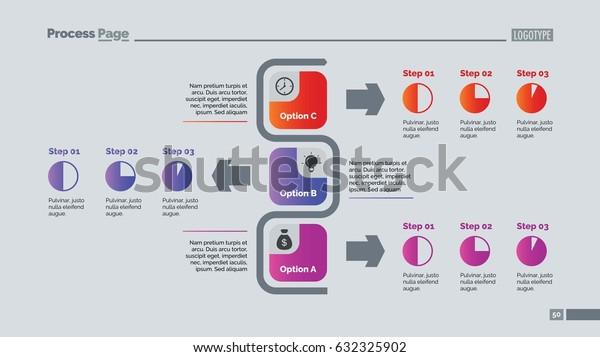 Three Options Flowchart Slide Template Stock Vector (Royalty