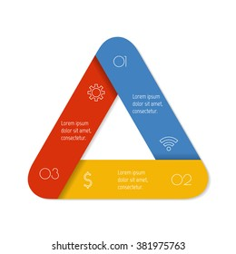 three options isolated infographic banner triangle workflow layout number banner template for diagram