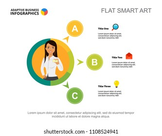 Three options process chart template for presentation. Business data. Diagram, graphic. Point, workflow, insurance, finance or marketing creative concept for infographic, project layout.