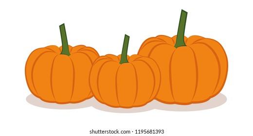 three orange pumpkings isolated on white background vector illustration EPS10