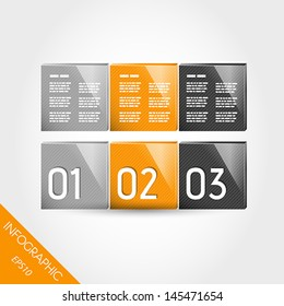 three orange striped 3d infographic columns from squares. infographic concept.
