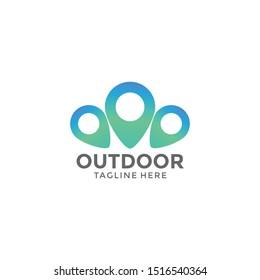 Three outdoor logo map marks
