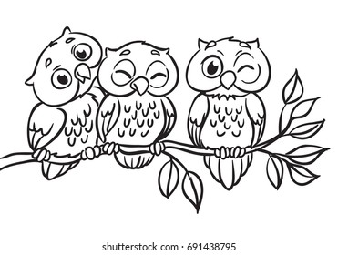 Three owls are sitting on a branch. Vector Illustration. Outlined for coloring book.