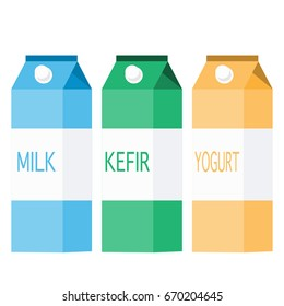 three packs of dairy products in different colors. milk blue pack. kefir green pack. yogurt yellow pack. tetra pack.