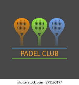 Three paddle rackets in blue, green and orange forming a logo