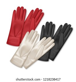 Three pair of realistic women leather gloves different colors: black, red, beige. Vector illustration isolated on white background