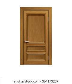 three panel dark wood door isolated on white background. realistic vector illustration