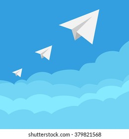 Three paper airplanes, wireless conversations, vector
