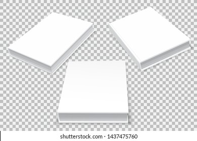 Three paper books are hardcover, in three angles. An empty, white template in perspective. A template for your business. Isolated on transparent background. Vector illustration.