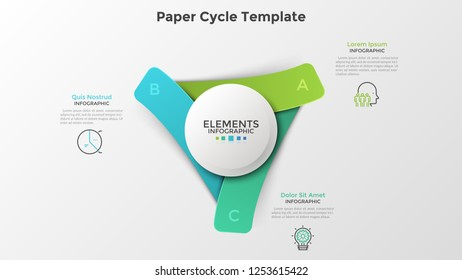 Three paper colorful rectangular elements placed around white circle. Realistic infographic design template. Modern vector illustration for cyclical business process visualization, presentation.