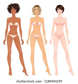 Three paper dolls, beautiful young women, different skin colors. Body templates, ready for cut out and play. Isolated vector illustration.