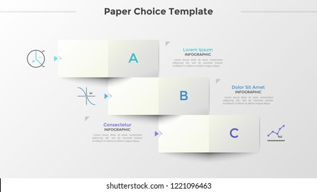 Three paper white rectangular elements with letters arranged as descending stairs, thin line symbols and place for text. Concept of 3 options to choose. Infographic design layout. Vector illustration.