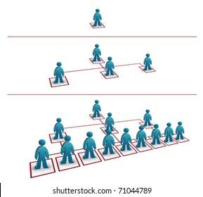 three part business network progress illustration