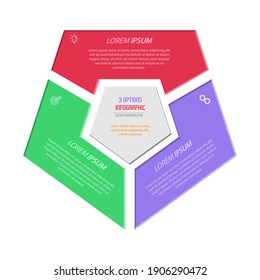 Three parts of a pentagon. Infographic diagram for presentation, business strategy, project development timeline or learning stages. Flat design.