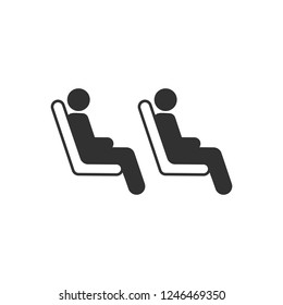 Three passenger seating in the row in public transportation. vector illustration isolated on white background.