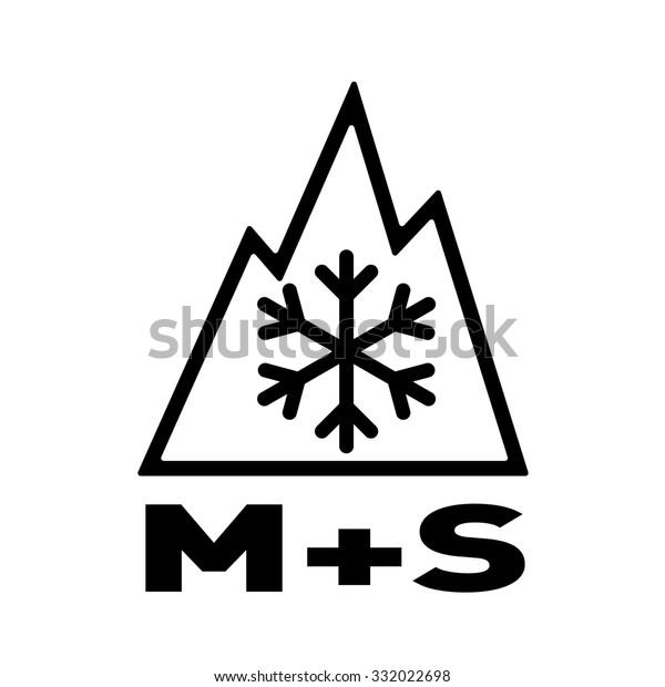 Symbol für Dreigliedrige Bergschneeflocken (3PMSF) und Schnee auf Reifen