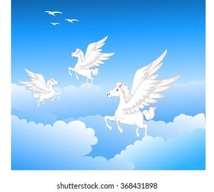 three pegasus fly