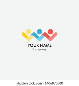 Three people abstract logo for business company. Corporate identity design element. Healthcare, Social Media, Network logotype idea. People connect, family of 3.
