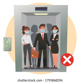 Three people crowded in elevator with mask and cross sign. Avoid overcrowding elevator to prevent COVID-19 transmission concept.