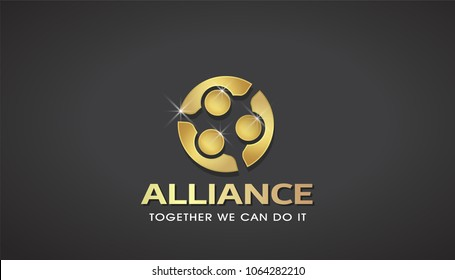 Three People Gold Alliance. Concept of VIP Teamwork Logo Template