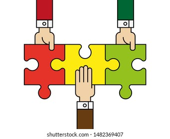 Three people hands putting puzzle 3 pieces. Teamwork business concept. Idea working together banner. Colaborative people design vector puzzle illustration. Hand business man connecting puzzle elements