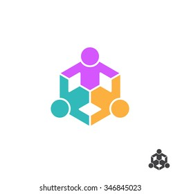 Three people holding hands. Vector colorful logo.