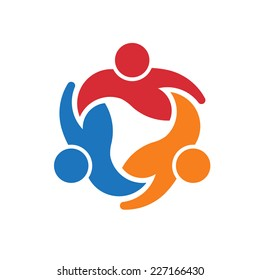 Three People logo around circle.Concept group of people united, Vector icon