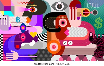 Three people looking in different directions modern abstract art vector illustration.