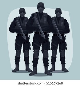 Three people, Special Law Enforcement Units of Specialized Tactical Team, dressed in Army Combat Uniform and holding automatic firearms. Full face and full body. Vector illustration