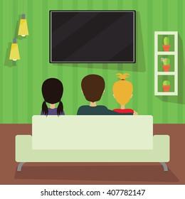 Three people watching television. Movie night illustration. Interior design vector. Third person.