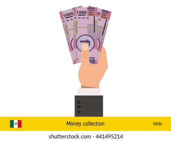 Three peso in hand. Mexican peso banknote vector illustration.