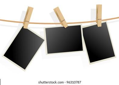 Three Photo Frames on Rope. Illustration on white background