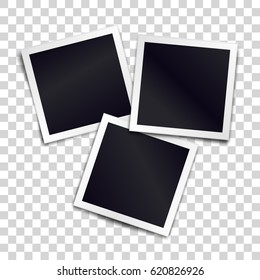 Three photorealistic blank retro photo frames over transparent background. Vector illustration