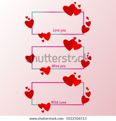 Three Picture Frames Decorated Valentines Day Stock Vector Royalty