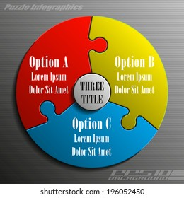 Three piece flat puzzle infographic presentation. 3 step circle business diagram. Three section compare service banner. Vector illustration template shape . 3d Abstract Background