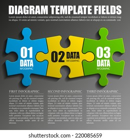 Three piece flat puzzle round infographic presentation. 3 step circle business diagram. Three section compare service banner. Vector illustration template shape . 3d Abstract Background