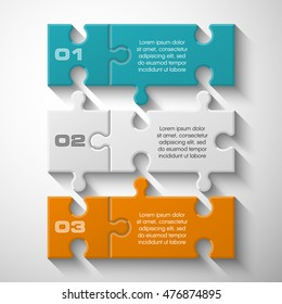 Three piece puzzle business presentation. Circle infograph. 3 step process diagram. Three section compare banner. Square schedule diagram
