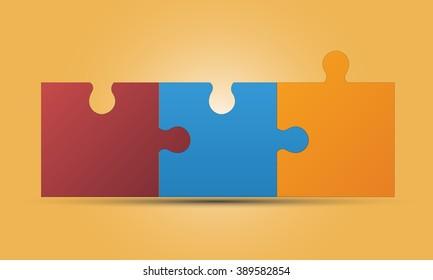 3 puzzle pieces images stock photos vectors shutterstock