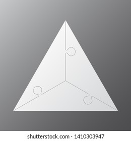 Three pieces puzzle triangle diagram. Triangles business presentation infographic. 3 steps, parts, pieces of process diagram. Section compare banner. Jigsaw puzzle info graphic. Marketing strategy.