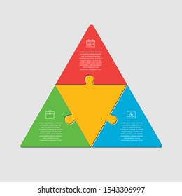 Three pieces puzzle triangles diagram. Triangle business presentation infographic. 3 steps, parts, pieces process diagram. Section compare banner. Jigsaw puzzle info graphic. Marketing strategy.