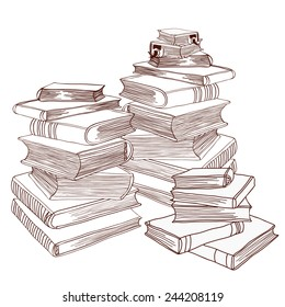 Three piles of books. Hand drawn with blob brush. Vector illustration. EPS8.