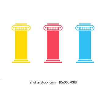 Three pillar diagram. Vector image isolated on white background